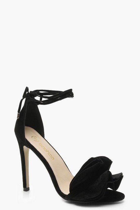 Black Ruffle Ankle Wrap Sandals