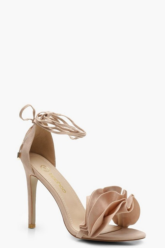 Womens Nude Ruffle Ankle Wrap Sandals