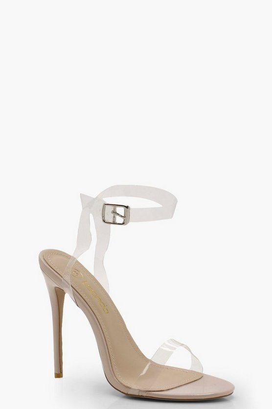 Womens Clear Strap Barely There Heels