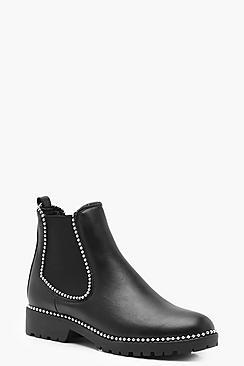 Megan Stud Trim Chunky Chelsea Boots