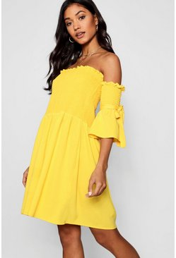 Womens Yellow Shirred Bardot Tie Sleeve Skater Dress