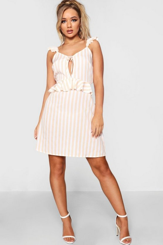 Ruffle Stripe Tie Front Shift Dress