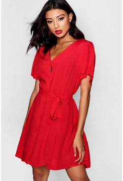 Womens Red Flutter Sleeve Woven Tea Dress
