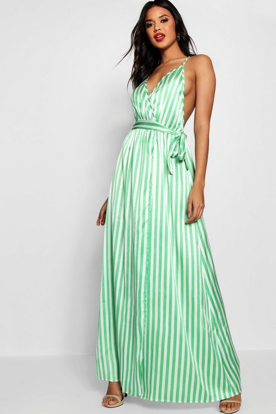 Contrast Stripes Satin Slip Maxi