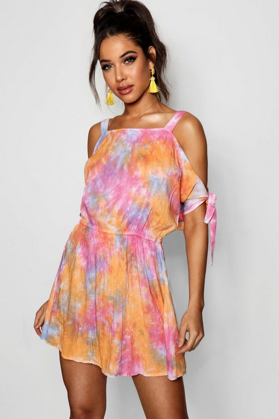 Tie Dye Cold Shoulder Beach Dress
