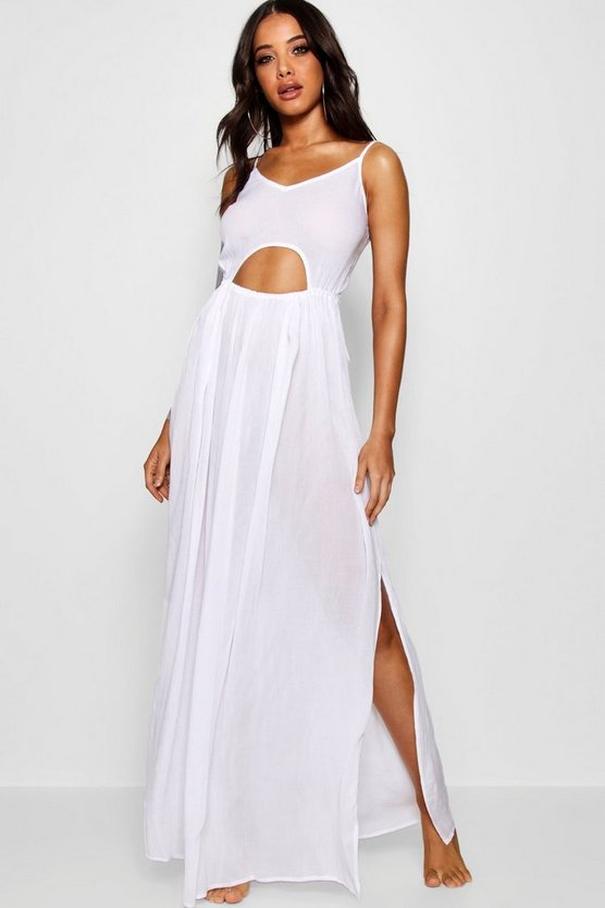 Cut Out Tie Back Maxi Beach Dress