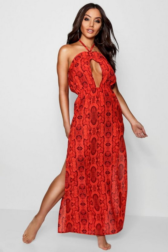 Womens Orange Snake Print Beack Maxi Dress