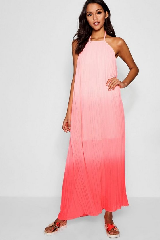 Ombre Pleated Floor Sweeping Maxi Dress
