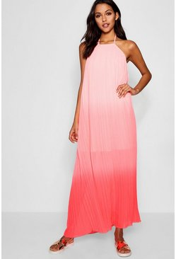 Womens Coral Ombre Pleated Floor Sweeping Maxi Dress