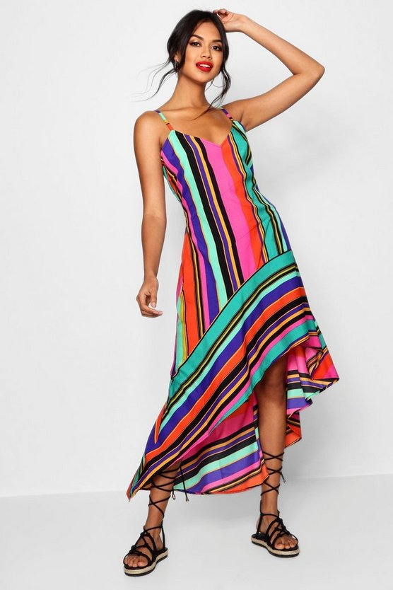 Womens Hot pink Asymmetric Bold Stripe Maxi Dress