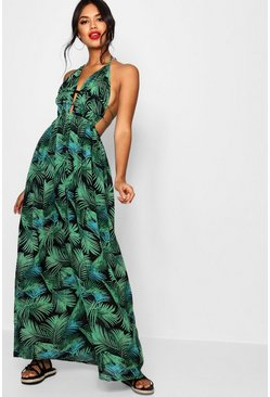 Womens Leaf green Plunge Front Palm Print Maxi Dress
