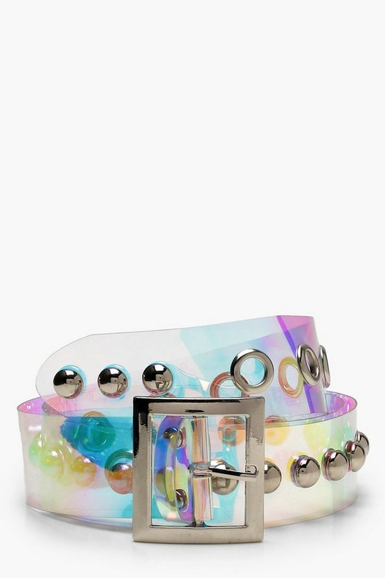 Womens Clear Holographic Stud Eyelet Boyfriend Belt