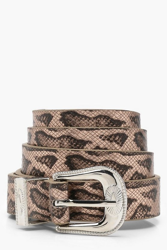 Faux Snake Western Buckle Belt