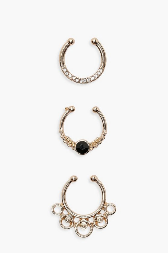 Filigree Detailed Septum Ring Set 3 Pk