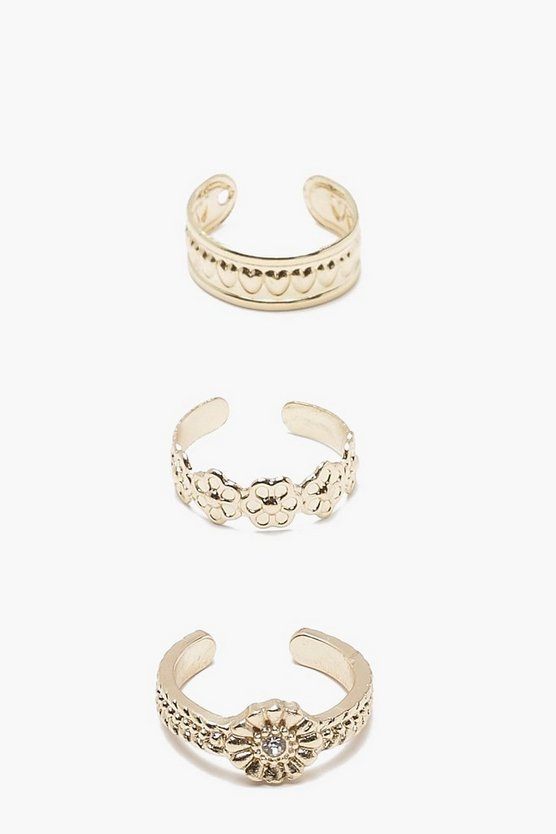 Engraved Toe Ring 3 Pk