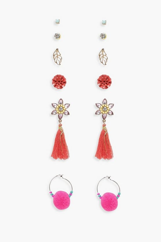 Tassel Pom Mixed Earrings 6 Pk, Gold, ЖЕНСКОЕ