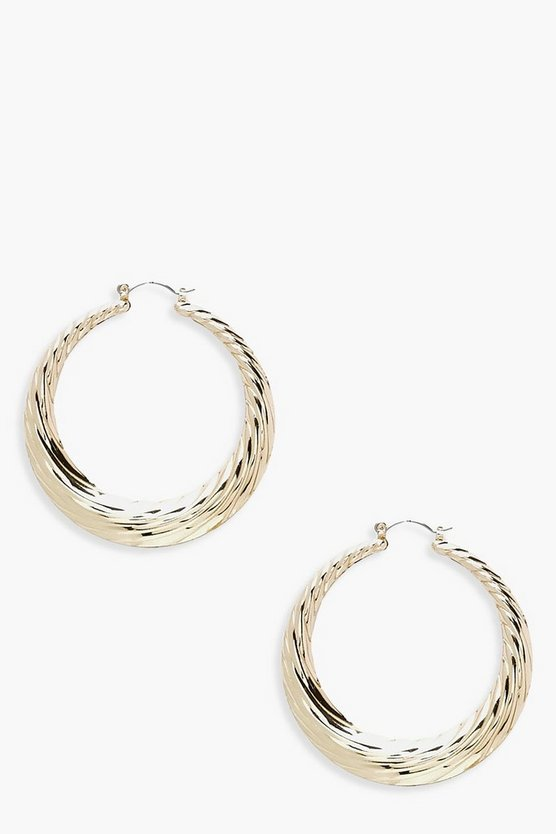 Chunky Ridged Hoop Earrings