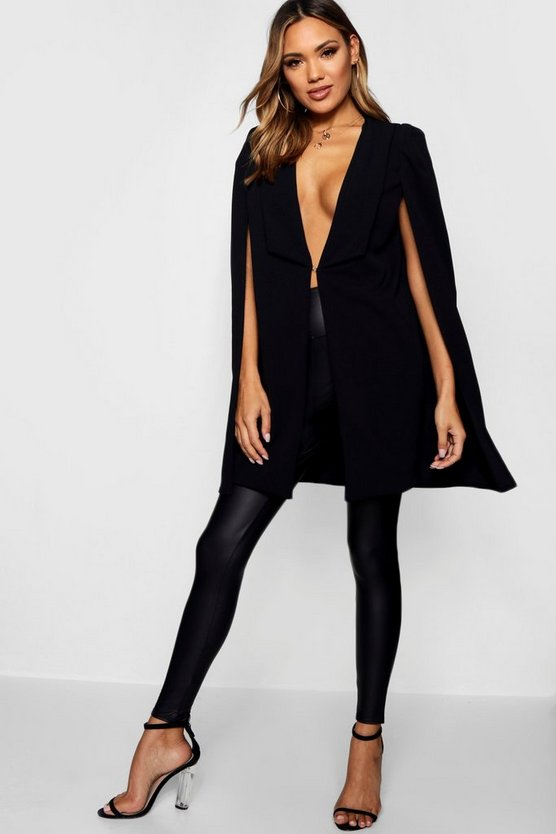 Womens Black Tailored Longline Cape