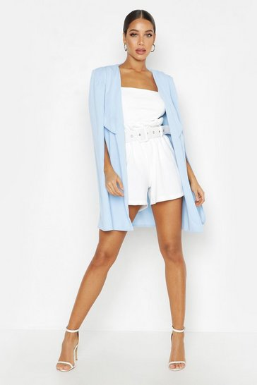 Powder blue Tailored Longline Cape