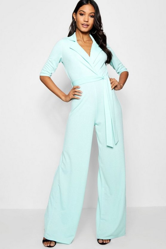 Womens Green fiz Collared Belted Wide Leg Jumpsuit