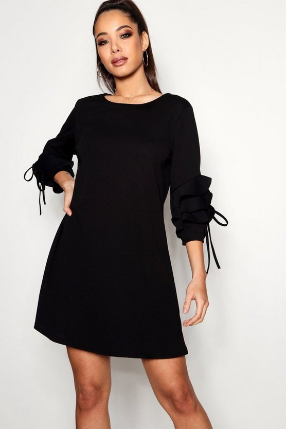 Tie Ruffle Sleeve Dress, Black, ЖЕНСКОЕ
