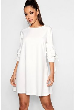 Tie Ruffle Sleeve Dress, Cream, ЖЕНСКОЕ