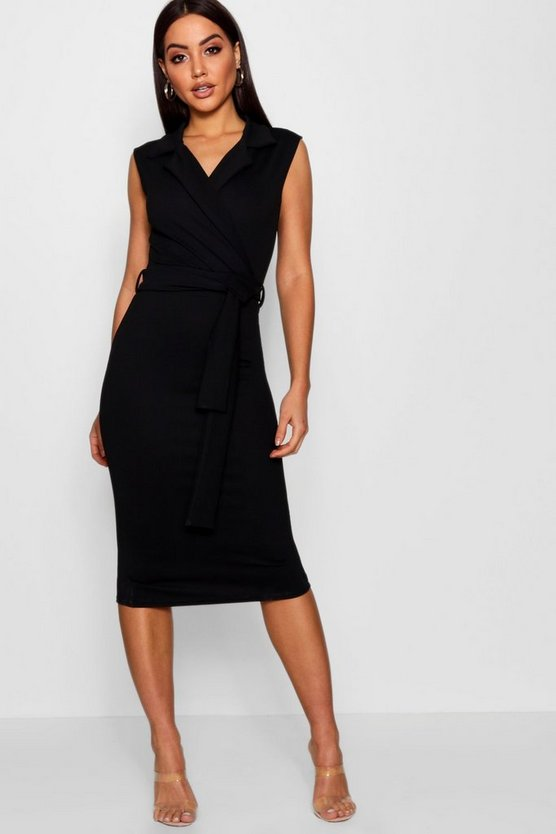 Womens Black Belted Wrap Lapel Midi Dress