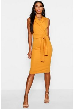 Womens Mustard Belted Wrap Lapel Midi Dress