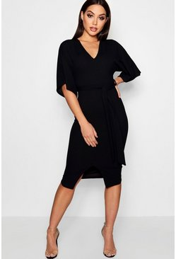 Black Kimono Sleeve Split Front Midi Dress