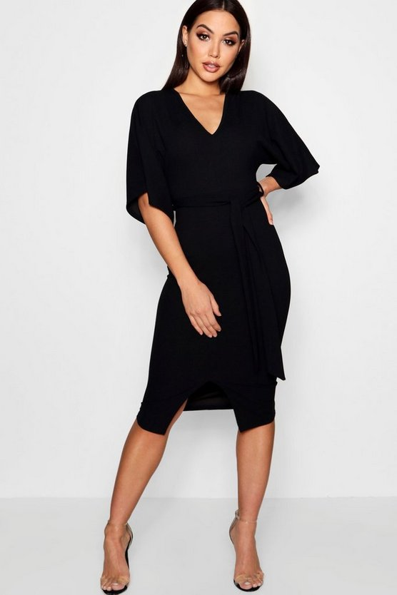 Womens Black Kimono Sleeve Split Front Midi Dress