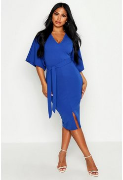 Womens Dark blue Kimono Sleeve Split Front Midi Dress