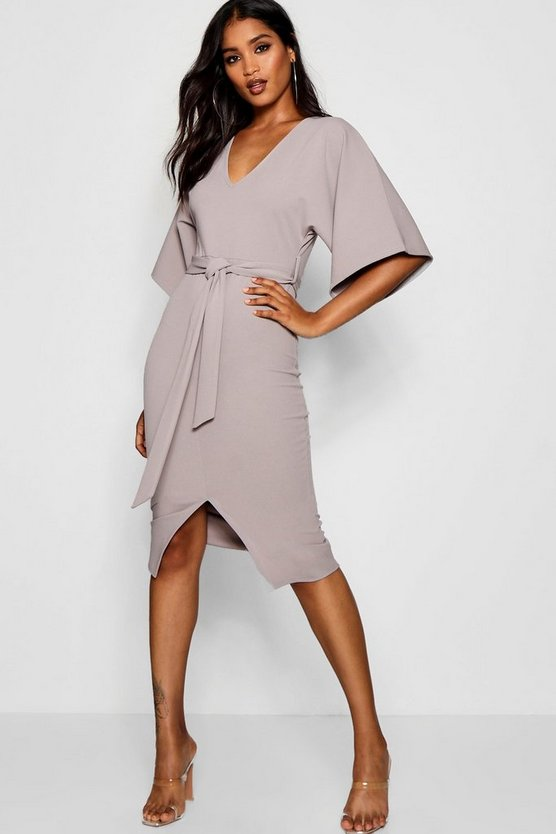 Womens Grey Kimono Sleeve Split Front Midi Dress
