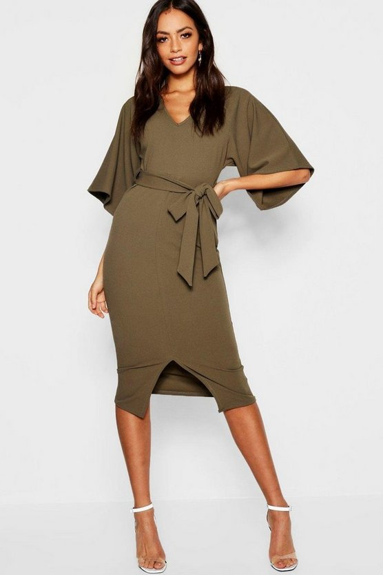 Womens Khaki Kimono Sleeve Split Front Midi Dress