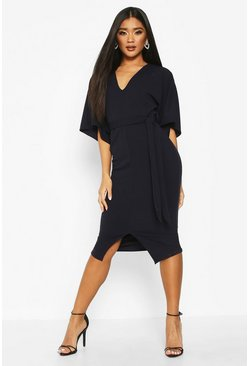 Womens Navy Kimono Sleeve Split Front Midi Dress