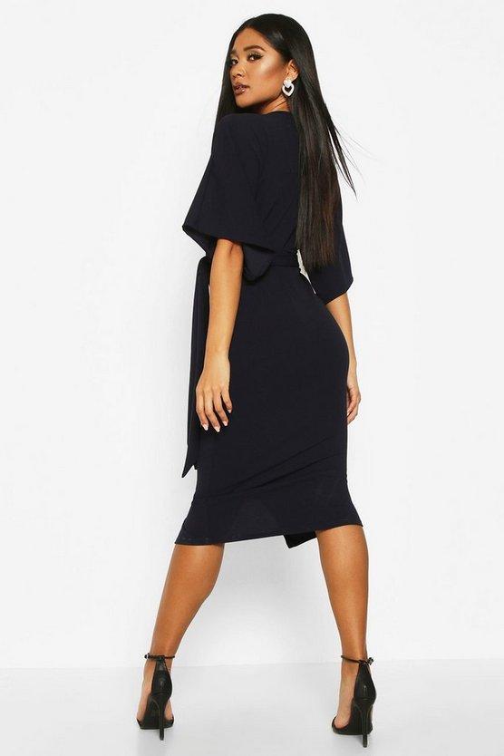 Kimono Sleeve Split Front Midi Dress