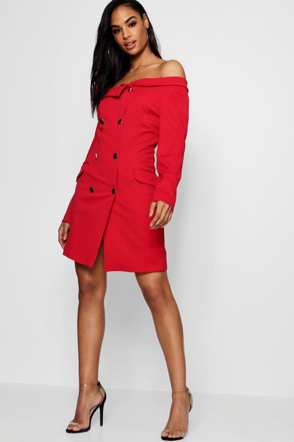 40c23fbb49a0 Double Breasted Off The Shoulder Blazer Dress. Hover to zoom
