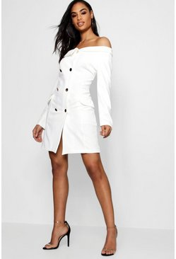 Womens Double Breasted Off The Shoulder Blazer Dress
