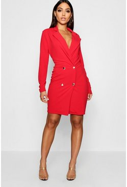 Womens Red Blazer Dress