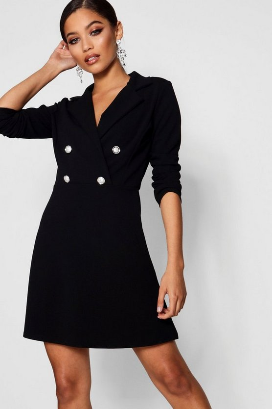 Womens Black Blazer Dress With Military Buttons