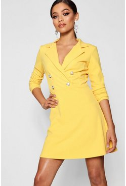 Womens Bright yellow Blazer Dress With Military Buttons