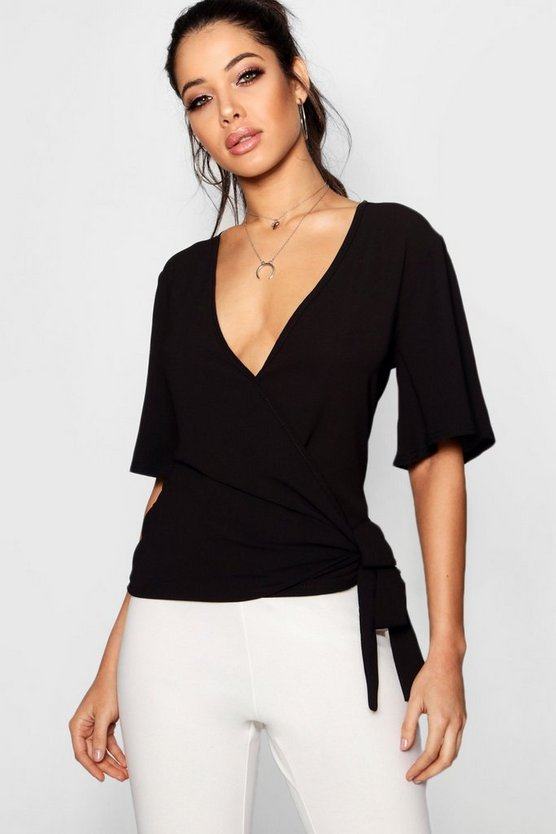 Womens Tie Side Wrap Blouse