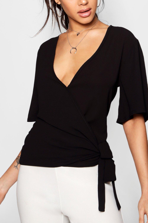 lateral cruzada Blusa negro con nudo tXWUfq