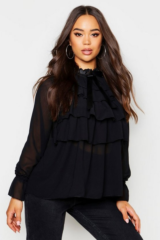 Womens Black Ruffle Front Full Sleeve Blouse