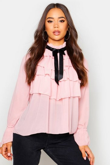 Womens Blush Ruffle Front Full Sleeve Blouse