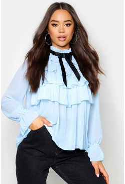 Cornflower blue Ruffle Front Full Sleeve Blouse