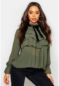 Womens Khaki Ruffle Front Full Sleeve Blouse