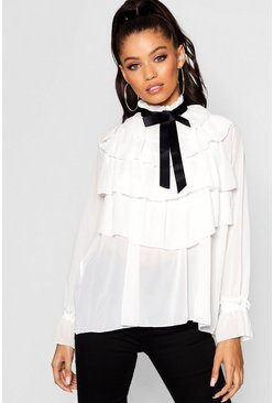 Womens White Ruffle Front Full Sleeve Blouse
