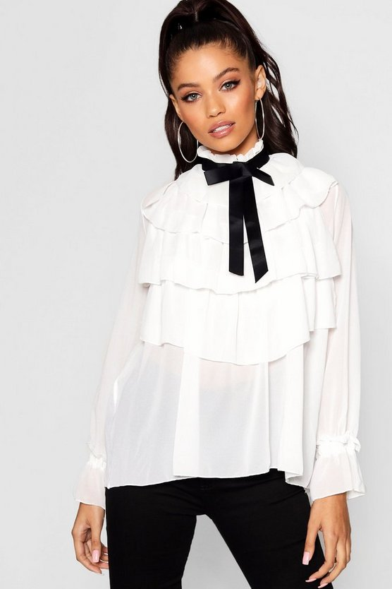 Ruffle Front Full Sleeve Blouse
