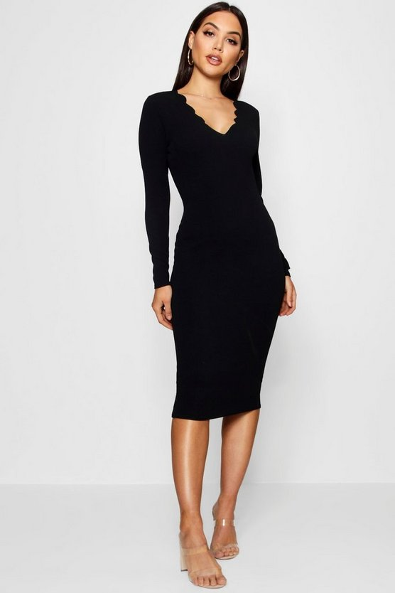 Scallop Edge Midi Dress, Black, ЖЕНСКОЕ
