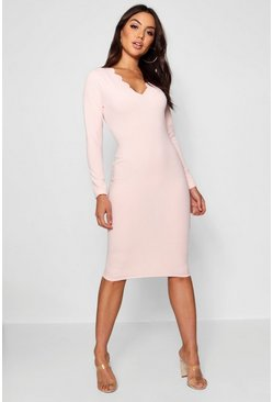Womens Soft pink Scallop Edge Midi Dress